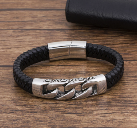 Bracelet en cuir véritable noir gros maillons 4