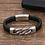 Thumbnail: Bracelet en cuir véritable noir gros maillons 4