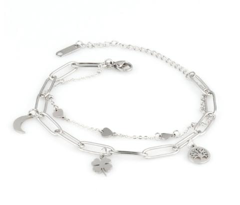Bracelet double chaîne trèfle/arbre de vie/lune en acier inox