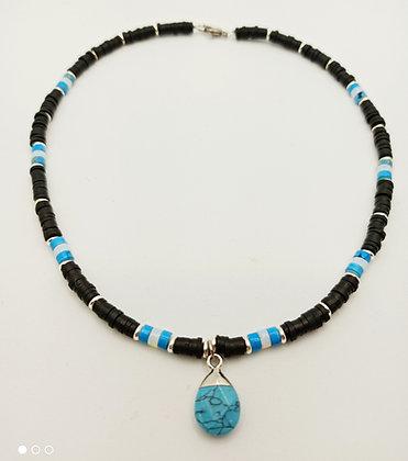 Tour de cou perles heishi noir/turquoise/blanc/argenté