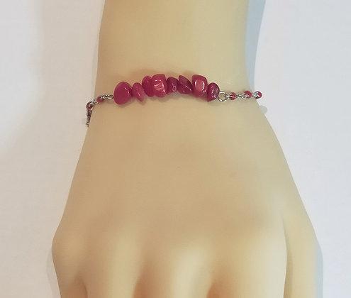 Bracelet argent/rouge corail rouge