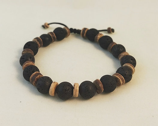 Bracelet ajustable pierres de lave bois de Cocotier