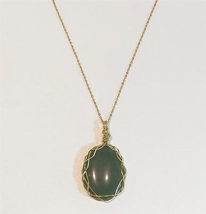 Collier chaîne doré pierre aventurine