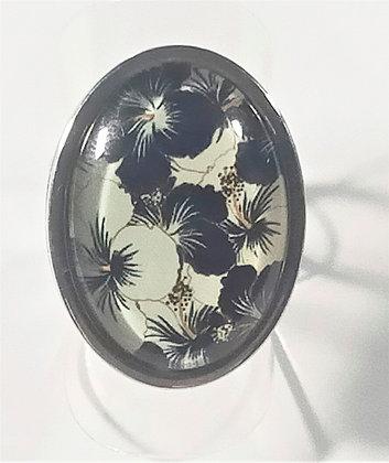 Bague réglable fleurs noir/blanc