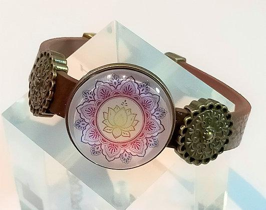 Bracelet cuir marron / mandala