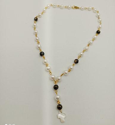 Collier en perles de culture Blanc/gris/doré