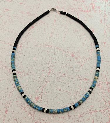 Collier homme ou femme heishi turquoise bleu/noir/greige