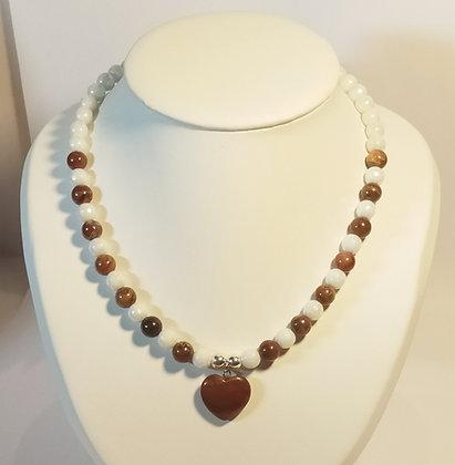 Collier en Jaspe rouge/opale blanc cœur