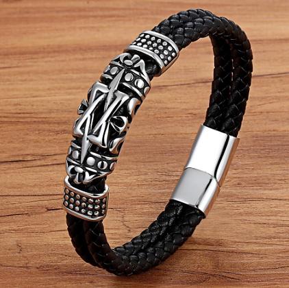 Bracelet tendance en cuir véritable pour hommes 18