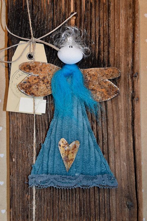 Engel auf Holz türkis