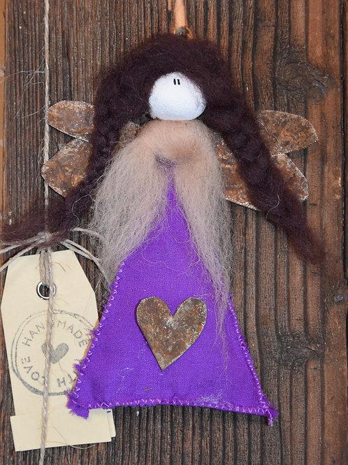 Engel auf Holz violett