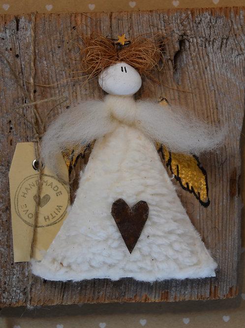 Engel Principessa auf Holz weiss
