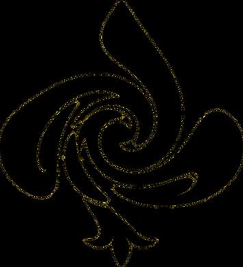 Editora Jogo de Palavras, logotipo, flor de lis distorcida formando JP