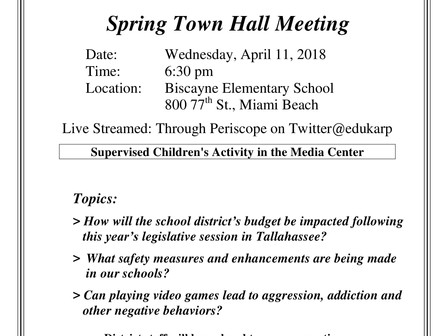 Spring Town Hall Meeting - Dr. Martin Karp (School Board Member)