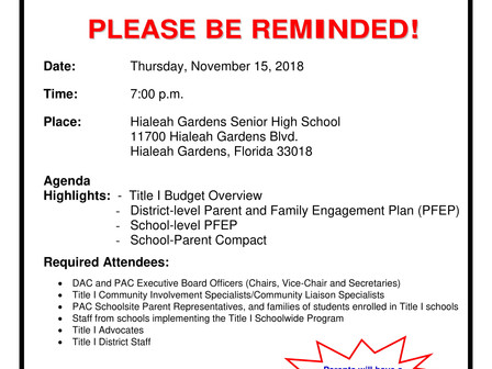 Title I   District Advisory Council      General Meeting
