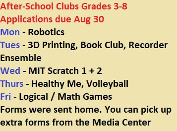 After-School Clubs - Grades 3,4,5,6,7,8