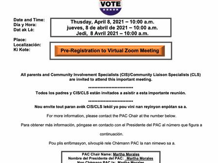 4/8/21     Title I Parent Advisory Council Elections.