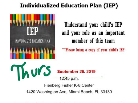 9/26 Individualized Education Plan: Training Session for Parents  9/26 Plan de Educación Individuali