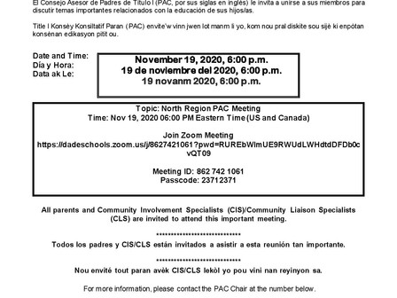 PARENT ADVISORY COUNCIL - ZOOM MEETING 11/19/20***CONSEJO ASESOR DE PADRES - REUNION 'ZOOM' 11/29/20