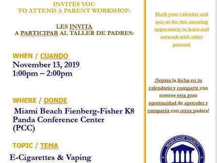 Parent Academy 11/13: Vaping + E-Cigarettes                                       Academía de los Pa