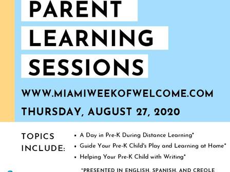 Pre-K Parent Learning Session: Thurs 8/27 Sesión de Aprendizaje para Padres de Prekínder: Jueves 27