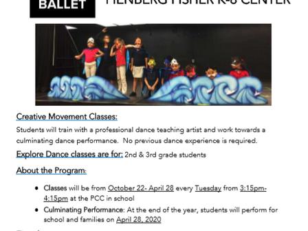 2nd + 3rd Grade Students: Explore Dance Program w/ Miami City Ballet after school
