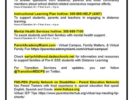 Resources for Parents of ESE Students  Recursos para Padres de Alumnos 'ESE'