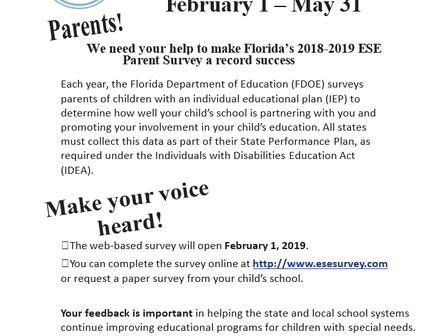 Feb 1-May 31 Florida ESE Parent Survey