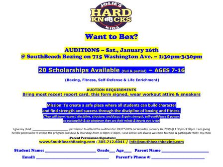 1/26/19 Auditions for boxing scholarships Audiciones para becas de boxeo