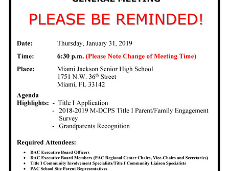 January 31, 2019 Title I General Meeting