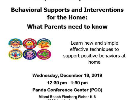 Behavior Workshop for Parents 12/18/19 at 12:30                                                 Tall