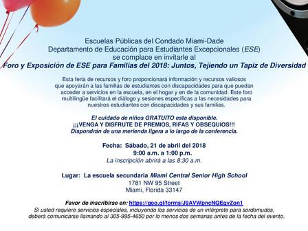 Foro y Exposición / Departamento de Educación de Estudiantes Excepcionales (ESE) este sábado 21 de a