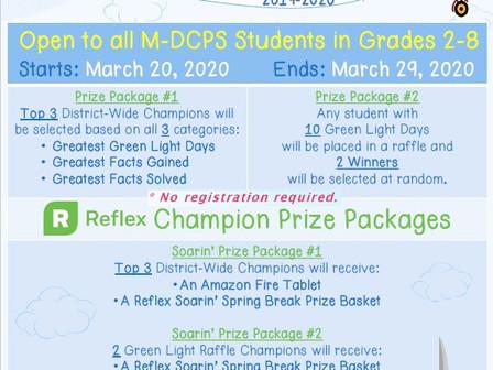 Spring Break Reflex Math Challenge / Desafío de Reflex Math para Las Vacaciones de Primavera