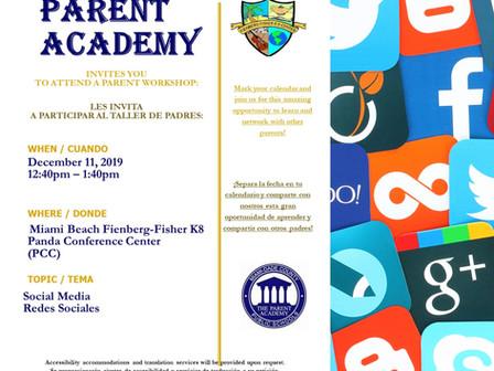 Parent Academy: Social Media Workshop on 12/11 at 12:40 pm