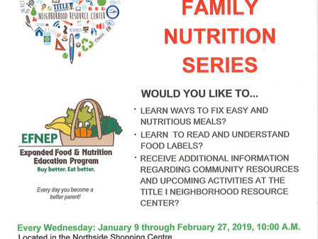 January 28, 2019 Family Nutrition Workshop