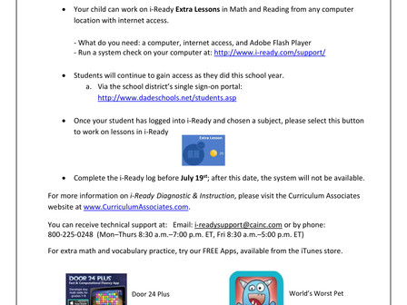 iReady Language Arts and Math available all summer