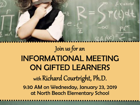 Informational Meeting On Gifted Learner 1/23/19