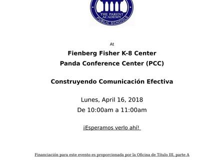 ¡Están invitados a la ACADEMIA DE LOS PADRES, 4/16/18!