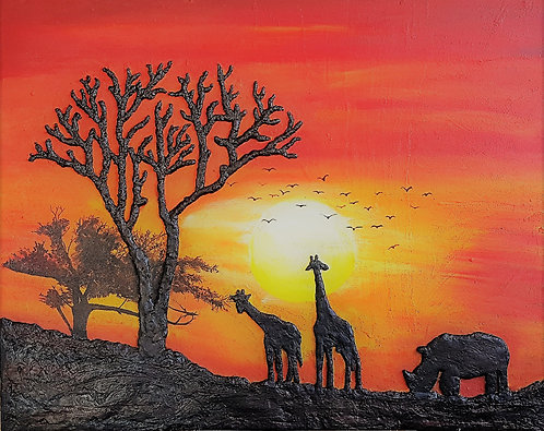 African Sunset Silhouette 80x100