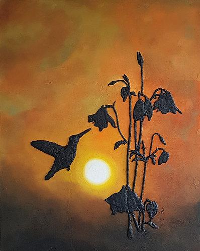 Silhouette Hummingbird Sunset  100x80