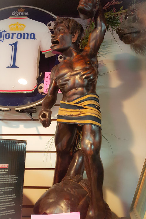Carved Wooden Headhunter Statue