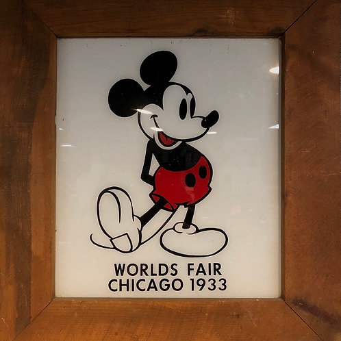 Mickey Mouse Worlds Fair Chicago Glass in Frame