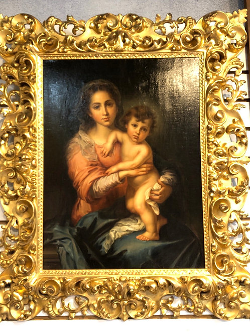Madonna Painting w/ Gold Leaf Frame 19th Century