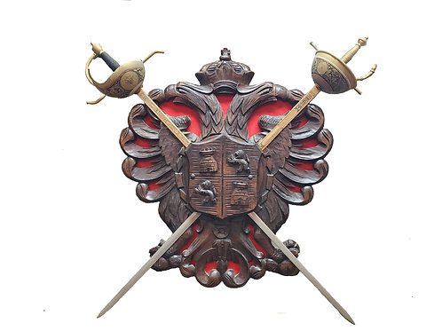 Large Coat of Arms with 2 Swords Wall Hanging