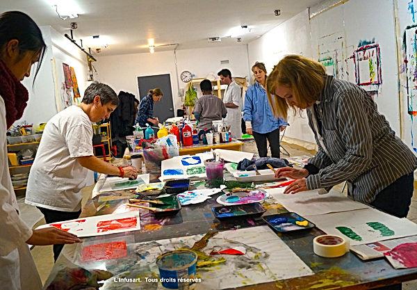 Cours de peinture à L'Infusart, Montréal.