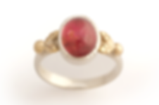 Constance Isobel pink ring with gold lea