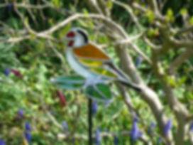 A. Newell. Goldfinch garden stake.JPG