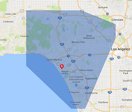 A map of Los Angeles with a blue-shaded area representing Sparkleyard Outdoor Maids service coverage area.