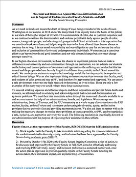 Statement and Resolution Against Racism