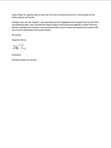 Letter from President Percy on confronti